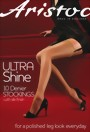 Aristoc - Ultra Shine 10 denier stockings with silk finish, black, size S/M
