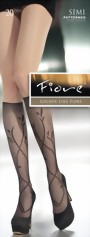 Fiore - Floral pattern knee highs Simi 20 denier