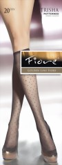 Fiore - Trendy polka dot pattern knee highs Trisha 20 denier, grey