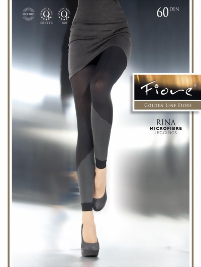 Fiore - Opaque patterned leggings Rina 60 DEN, navy blue, size M
