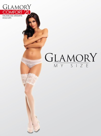 Glamory - Elegant plus size hold ups Comfort 20 denier, black, size 2XL