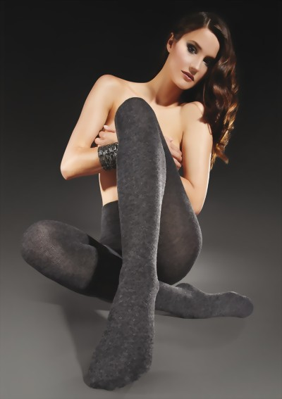 Marilyn - Soft, warm winter tights Cashmere 200 den, light grey, size M/L